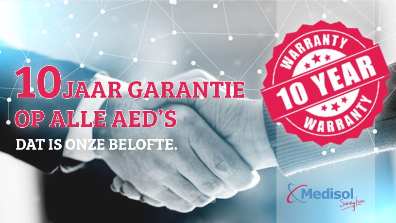 10 jaar garantie bij aanschaf van iedere AED bij AEDwinkel.be